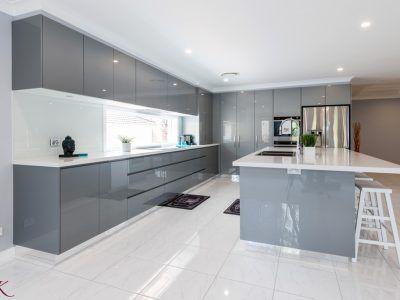 modern-grey-kitchen-island #bluegreykitchens