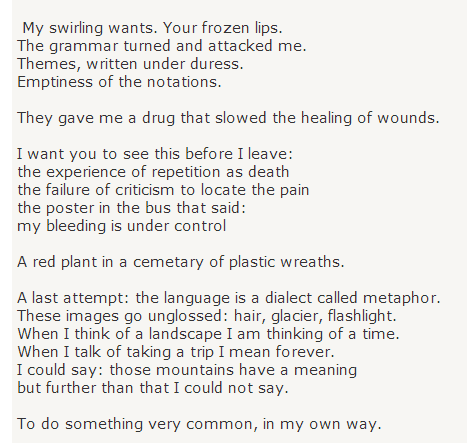 A Valediction Forbidding Mourning By Adrienne Rich