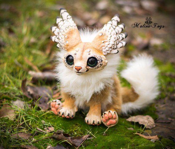Custom Order Handmade Poseable Winged Fox Fennec Fox Fox Plush