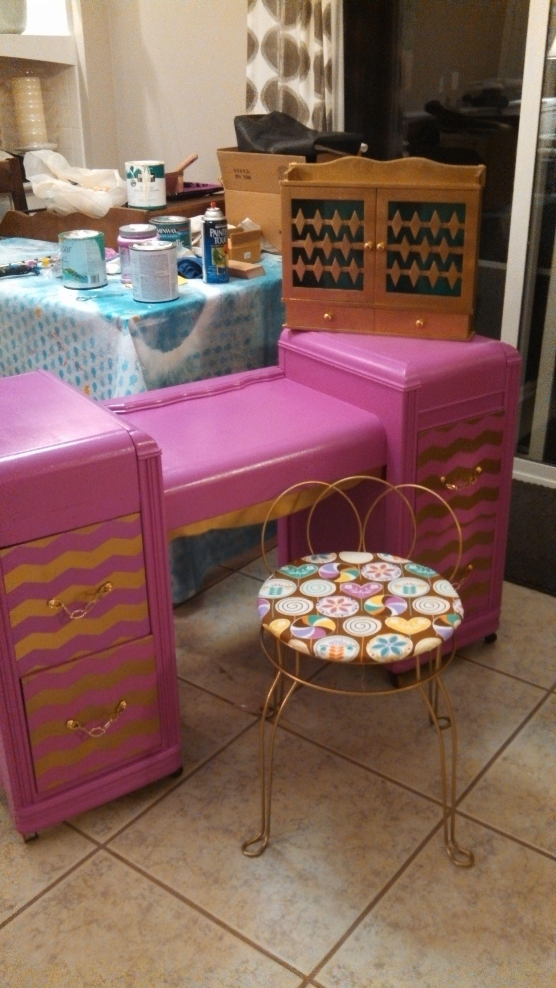 Superior Pink U0026 Gold Chevron Vanity With Gold Stool: American Honey Repurposed  Furniture, Kalamazoo MI
