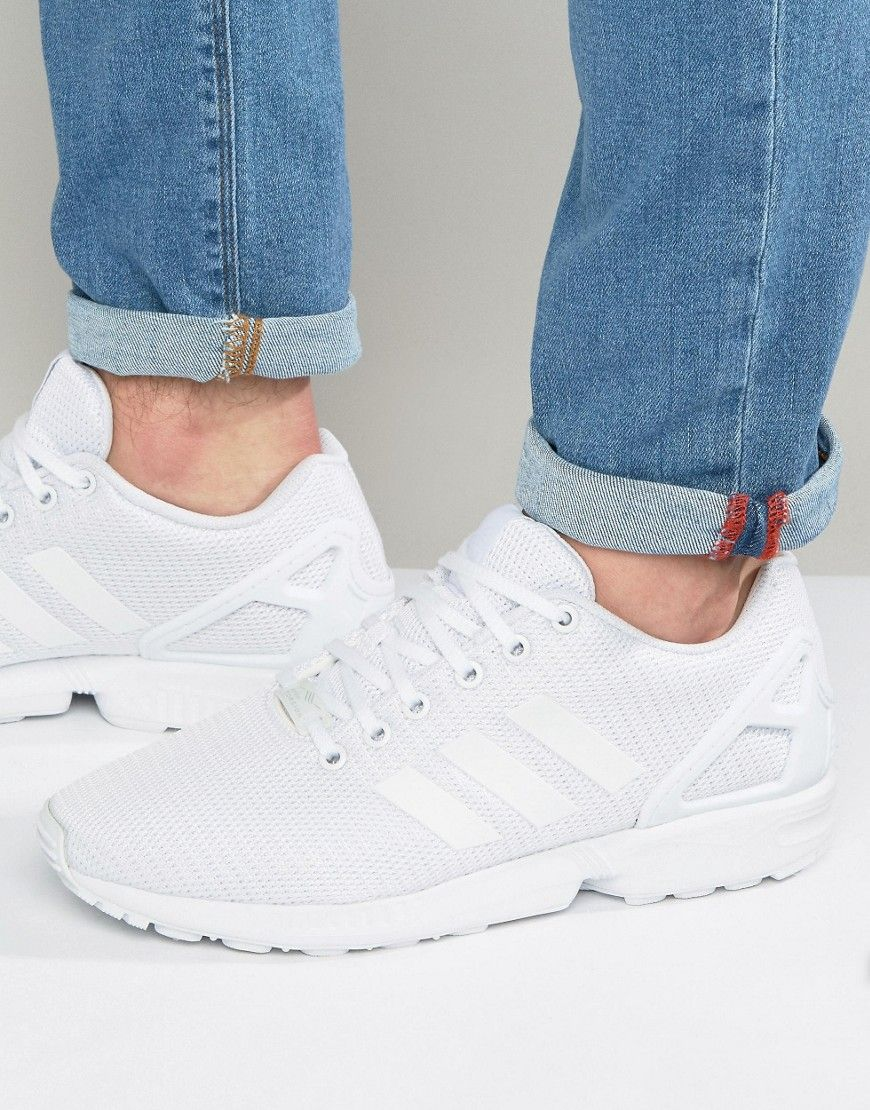 1f117d0bc93c8 Get this Adidas Originals s sneakers now! Click for more details. Worldwide  shipping. Adidas Originals ZX Flux Trainers In White S32277 - White   Trainers by ...