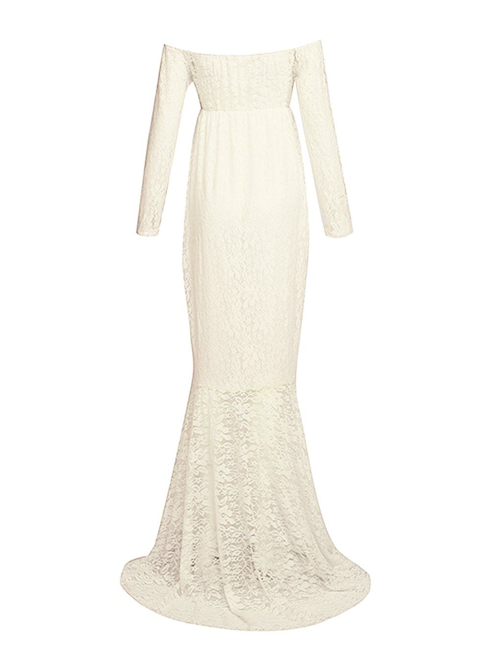 JustVH Women/'s Off Shoulder Long Sleeve Lace Mermaid Maternity Gown Maxi Dress