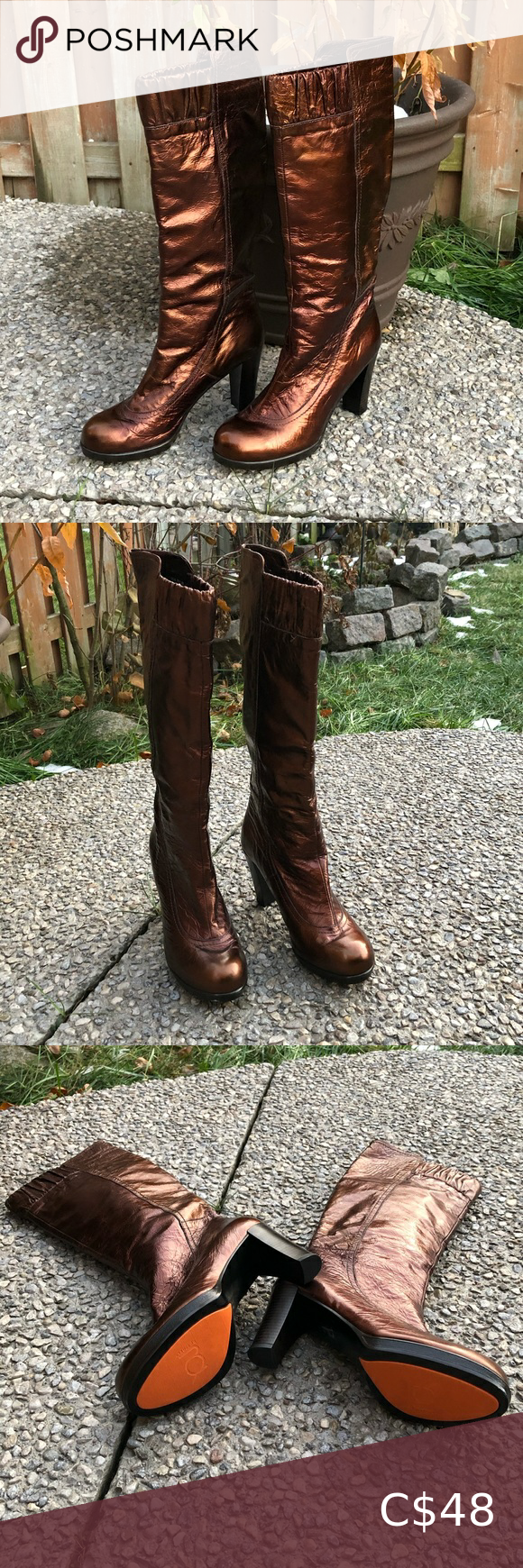 Leather boots, Shoes heels vintage