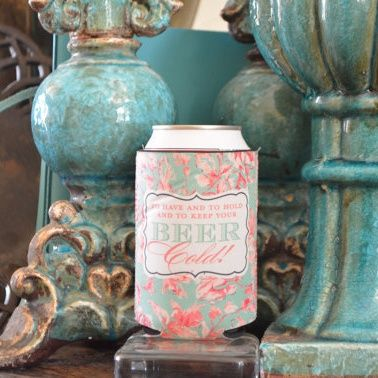 Full Color Printed Custom Bottle & Can Koozie - Gracious Bridal $4.15 (bulk pricing discounts available). Fun and functional favor for weddings, engagement parties and rehearsal dinners. Each koozie comes printed with the digital full color design of your choice!