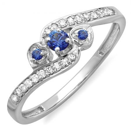Share for $20 off your purchase of $100 or more! 0.25 Carat (ctw) 18k White Gold Round Blue Sapphire And White Diamond Ladies Bridal Promise Heart 3 Stone Swirl Engagement Ring 1/4 CT - Dazzling Rock #https://www.pinterest.com/dazzlingrock/