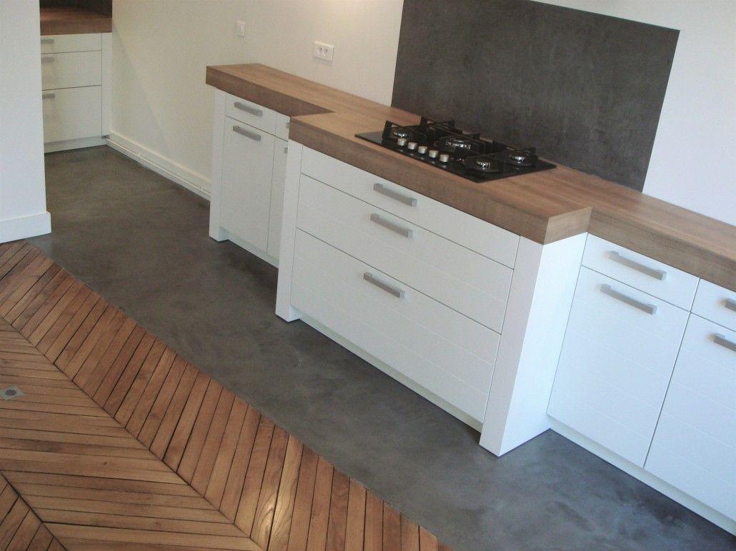 3dco Credence Cuisine Beton Cire Concrete Kitchen Open Concept Kitchen Kitchen Flooring