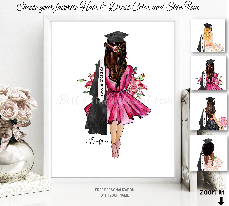 Graduation Print Graduation Gift For Her Fashion Illustration Etsy In 2020 Graduation Gifts For Her Card Art Graduation Gifts