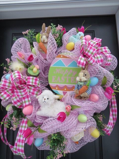 Easter Wreath Easter Door Wreath Front Door by hollyhillwreaths