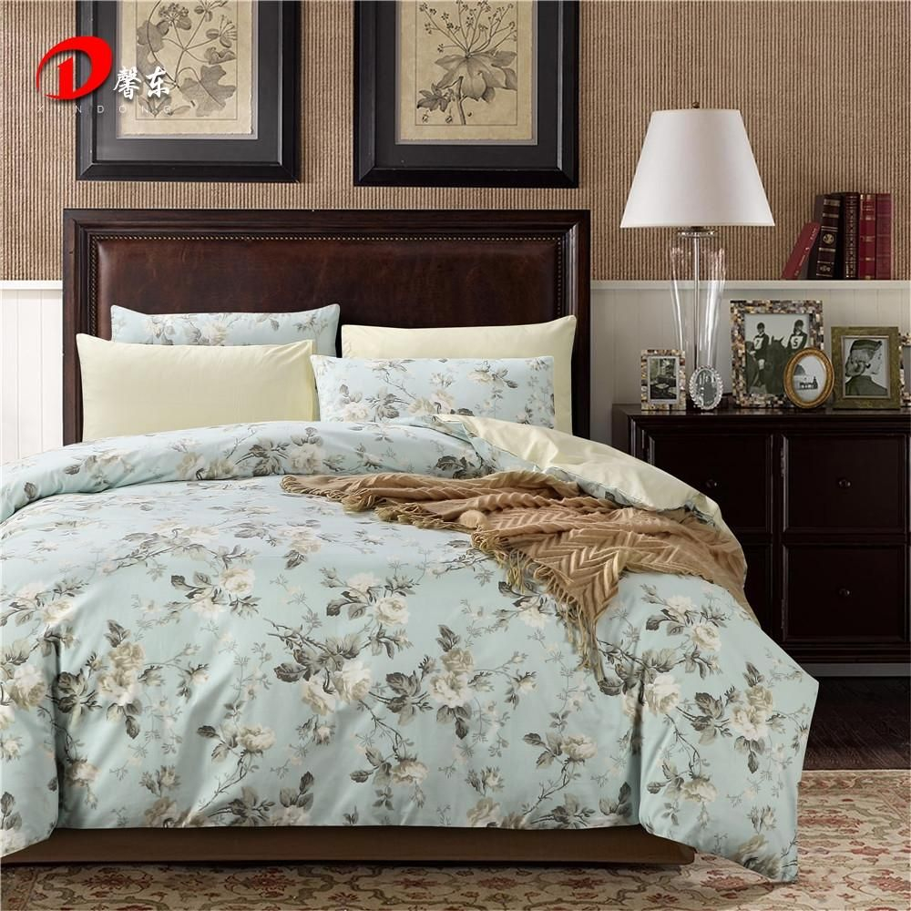 Luxury Satin Bed Linen Egyptian Cotton Bedding Set King Queen Size High  Quality White Floral Bed