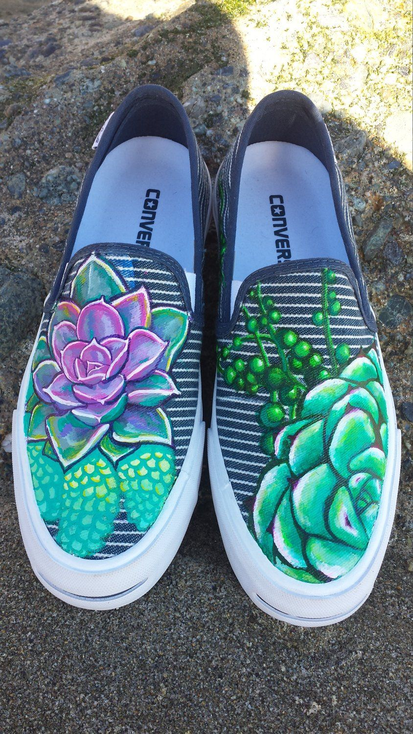 73b4e087a7 Born at Night Custom Hand Painted Succulent shoes Converse Vans Toms ...