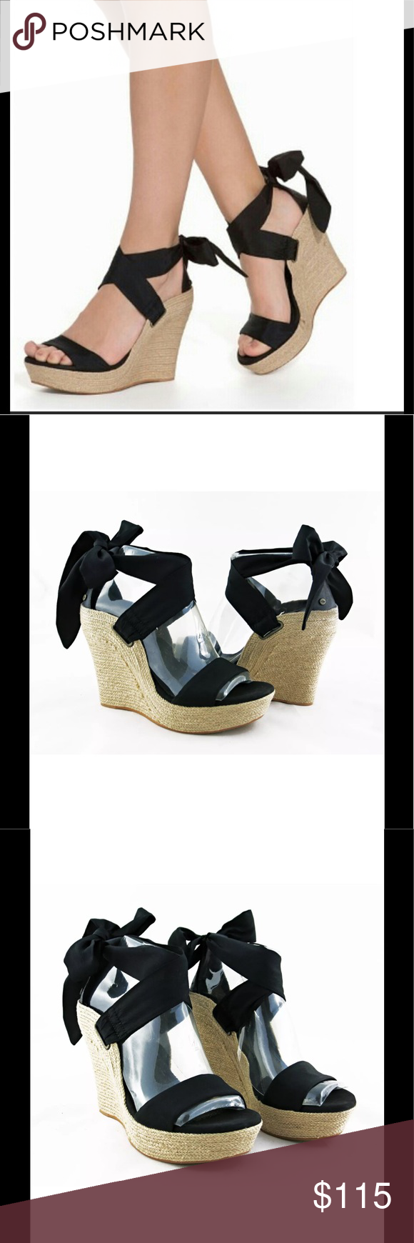 01eb8e2d6b3 Ugg Jules black ankle wrap espadrille wedges 8.5 Silk ribbon ankle wrap  with a Leather lined