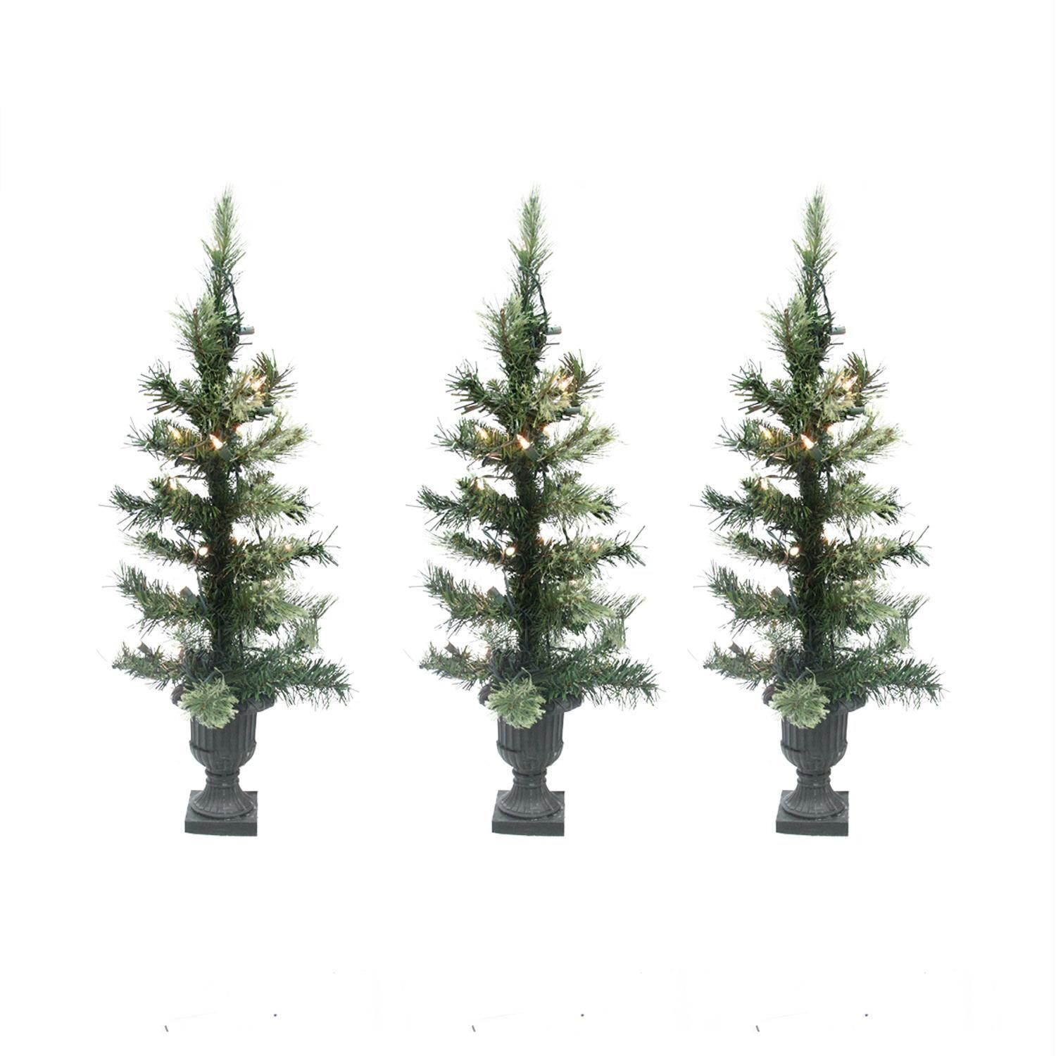 Set Of 3 Pre Lit Cashmere Mix Potted Artificial Christmas Trees