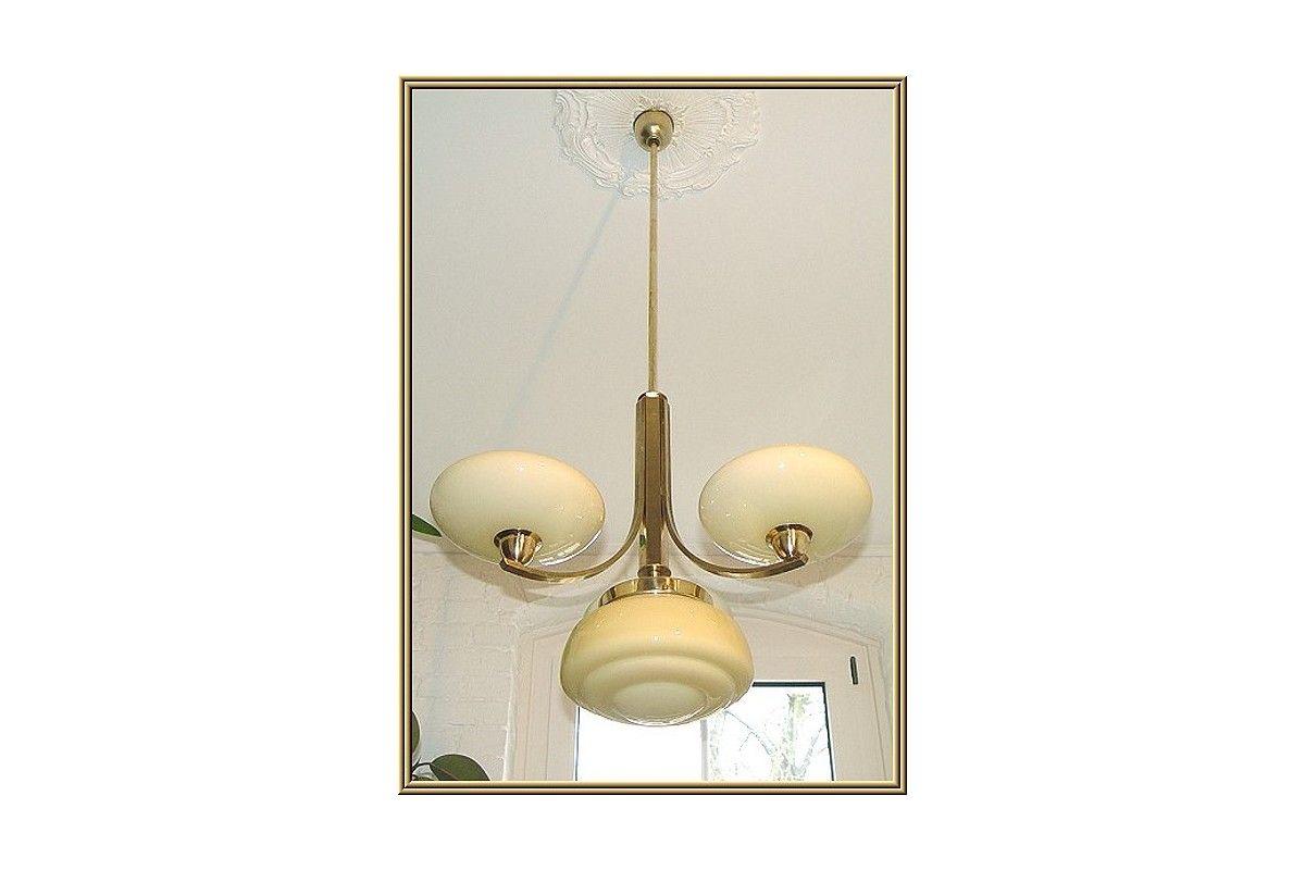 Art deco antike decken hänge lampe 3arm 4fl messing um 1930