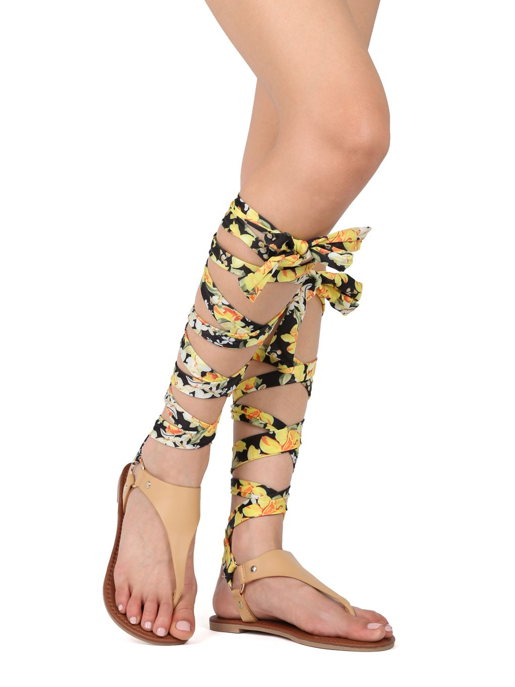 111ed9ee4 Shoes Women Leatherette Thong Construction Floral Ankle Wrap Gladiator Flat  Sandal