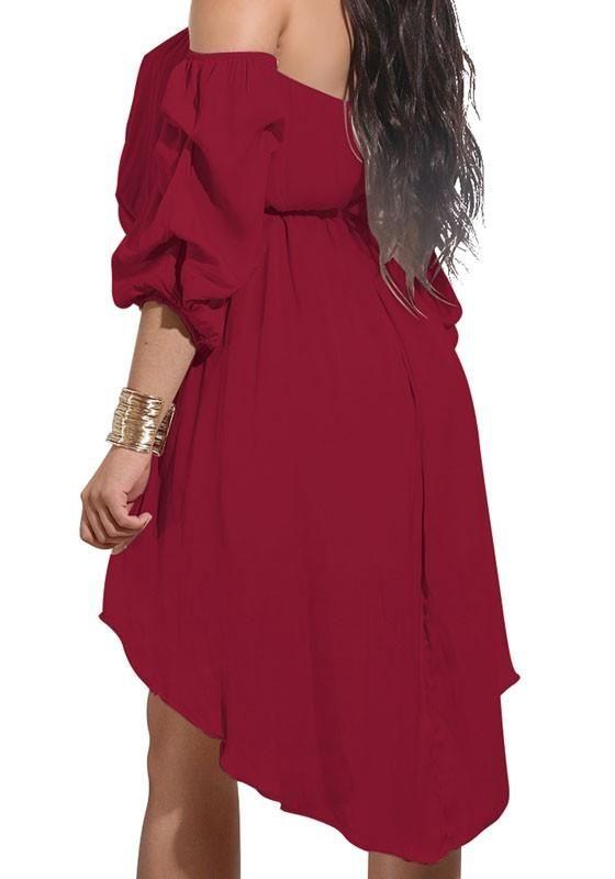 New Women Burgundy Belt High-low Off Shoulder Long Sleeve Mini Dress ... 96c6662b4