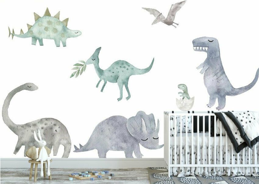 Details About Watercolour Dinosaur Wall Sticker Boys Decal Nursery