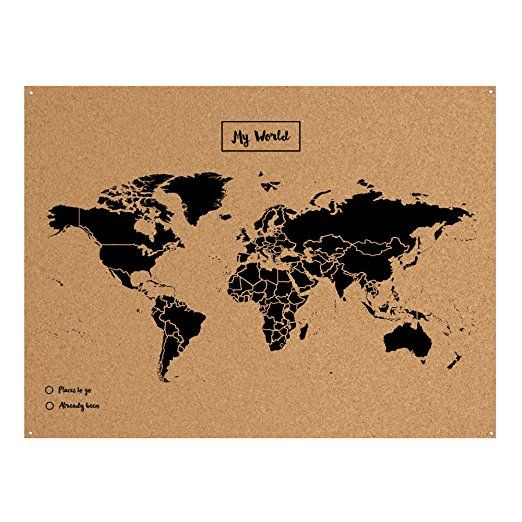 Miss Wood Map XL Carte du monde en liège 0.4x60x90 cm noir | Want