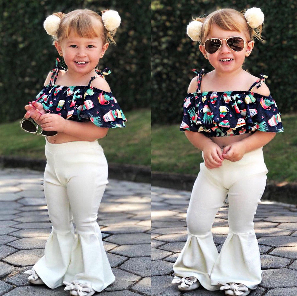 d20b0ccb79b38 $8.99 - Boutique Toddler Kids Girls Off Shoulder Floral Tops Flares Pants  Outfits Set #ebay #Fashion