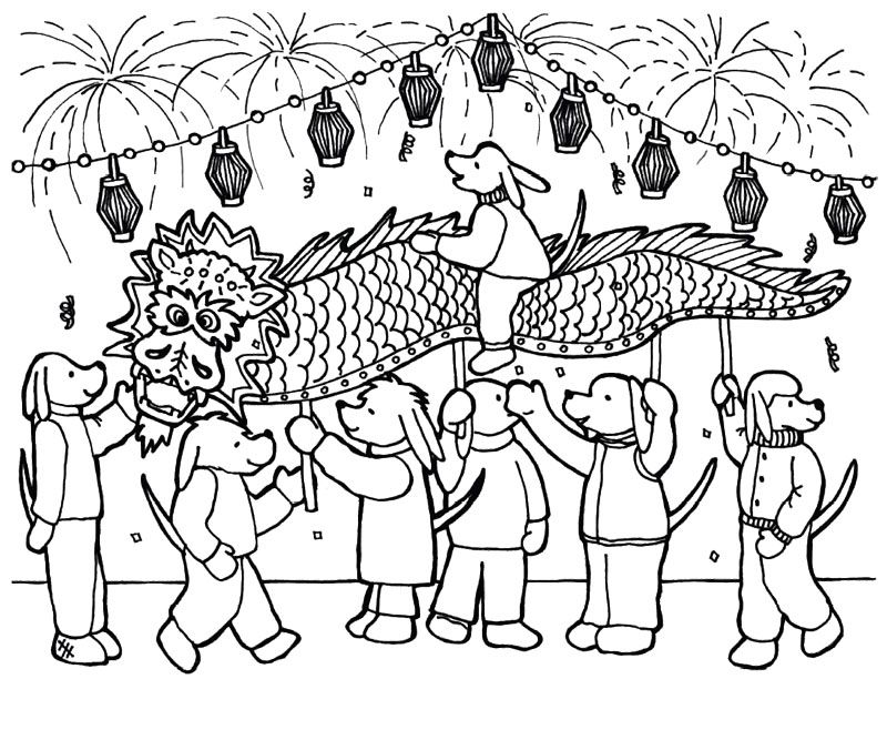 Chinese New Year Having Fun With Many People Coloring Page | Kids ...