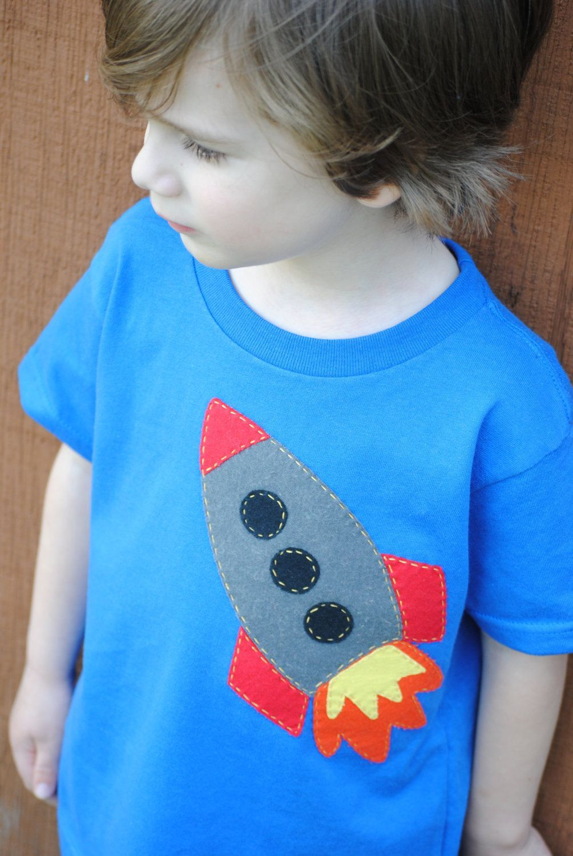 Rocket to the moon hand sewn kids tshirt  Etsy