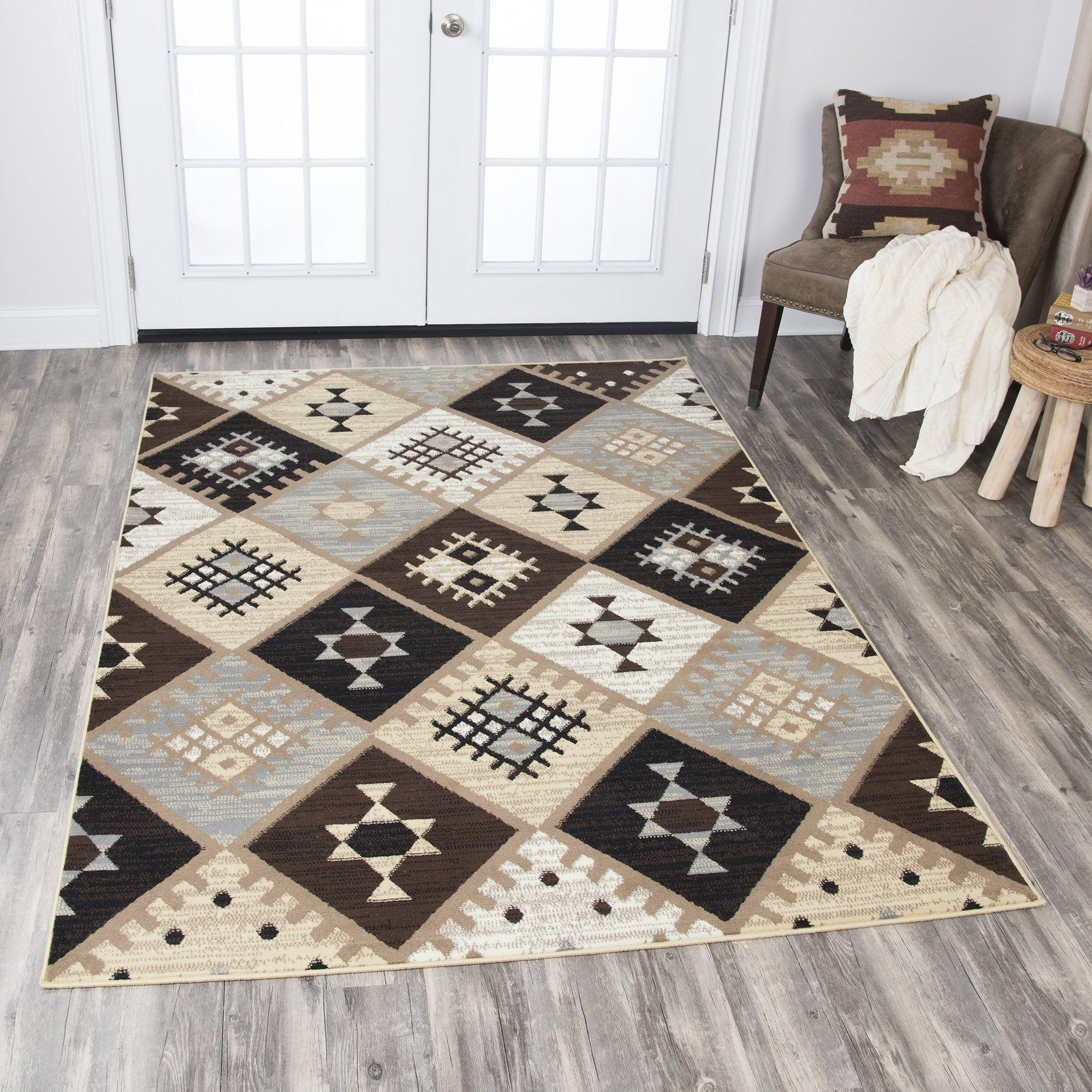Rizzy Home Xcite XI6935 Gold Dimonds Motif Area Rug