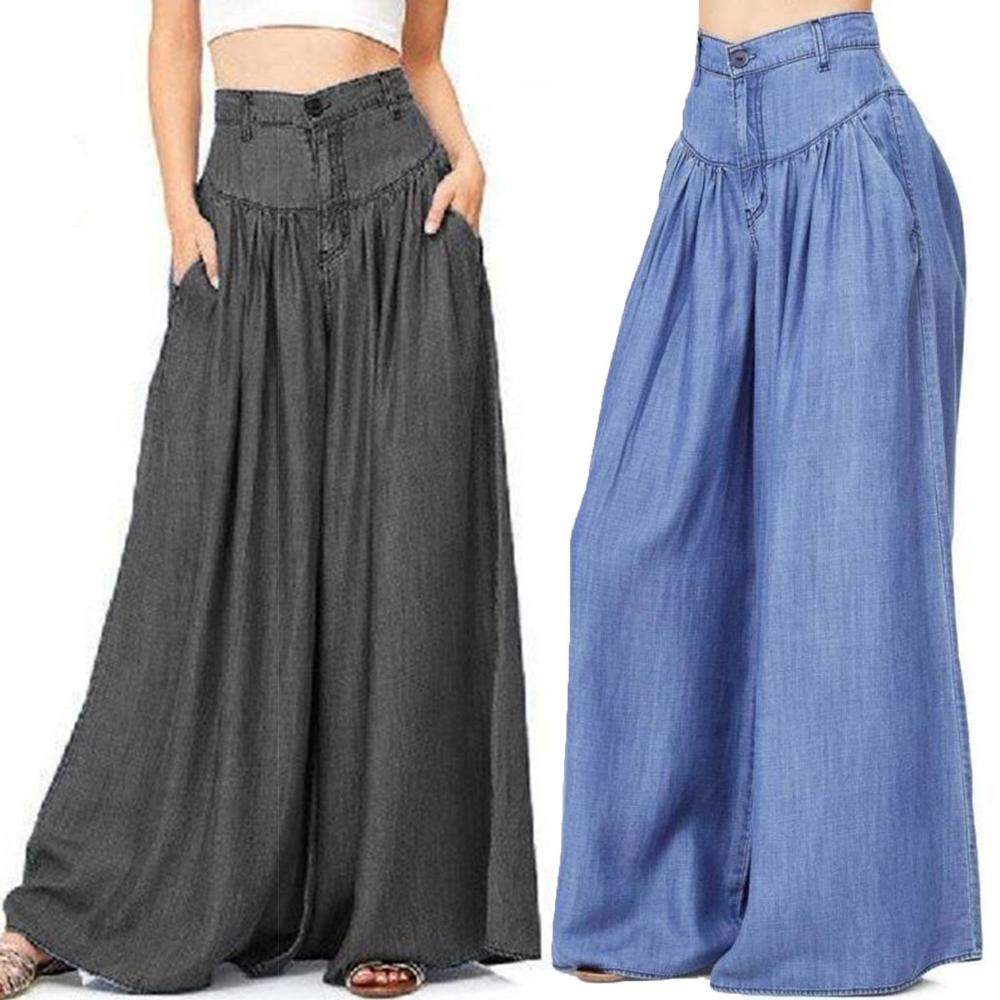 Womens Ladies Palazzo Trousers Wide Leg High Waist Culottes Yoga Summer Pants