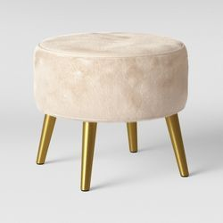 Radovre Hairpin Ottoman Faux Fur White Project 62 With Images Ottoman Project 62 Living