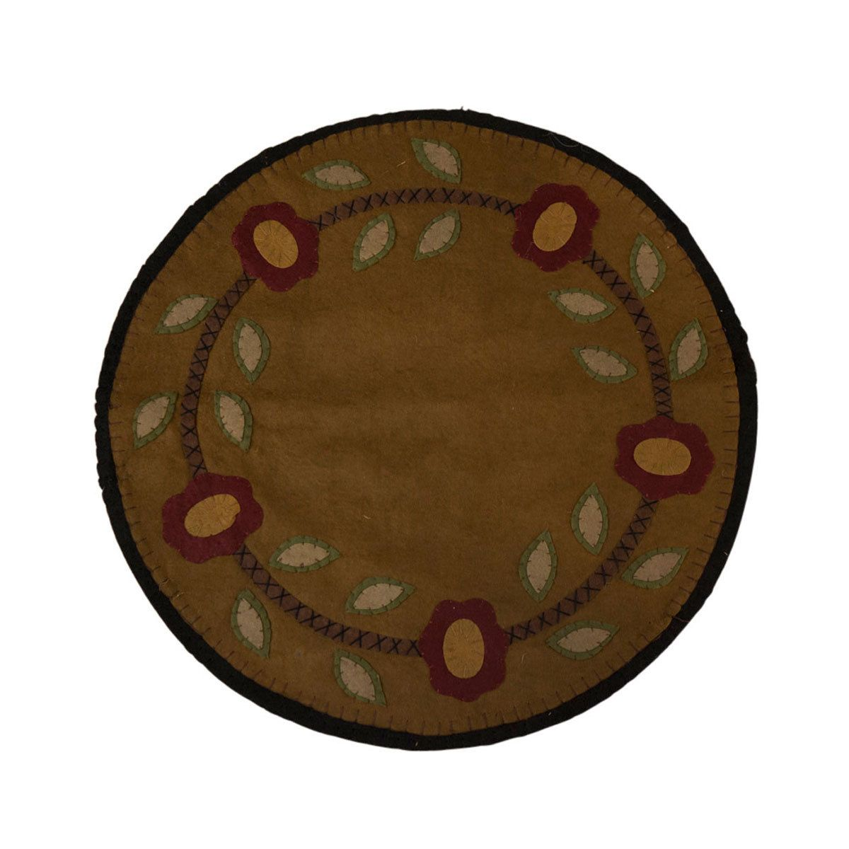"""Round Flower Mat-Felt - Hand-stitched Fabric Mat or Runner made of a combination of felt and wool blend materials - 19"""" round."""
