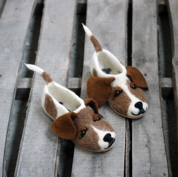 Jack Russel Terrier Premium Custom Dog Slippers Felted Jrt