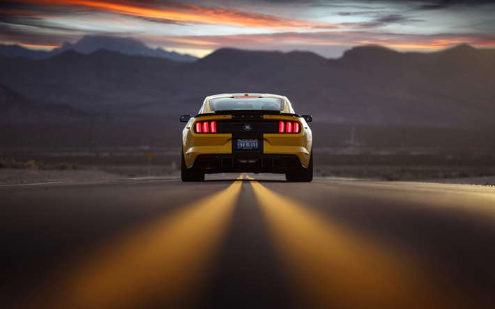 Download Wallpapers Ford Mustang 2018 Rear View Sports
