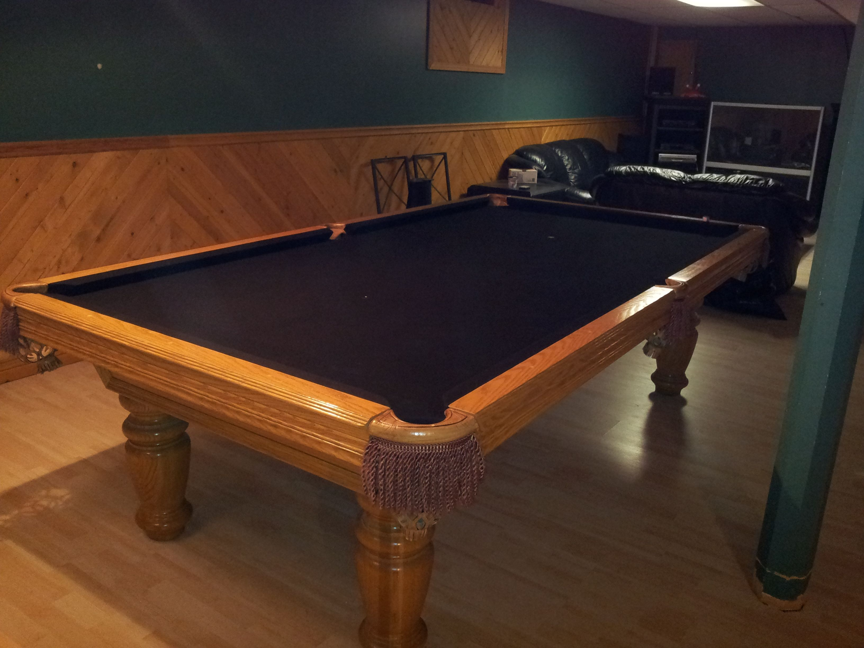 Older Oak Table In Oak Room With New Black Cloth For Pool