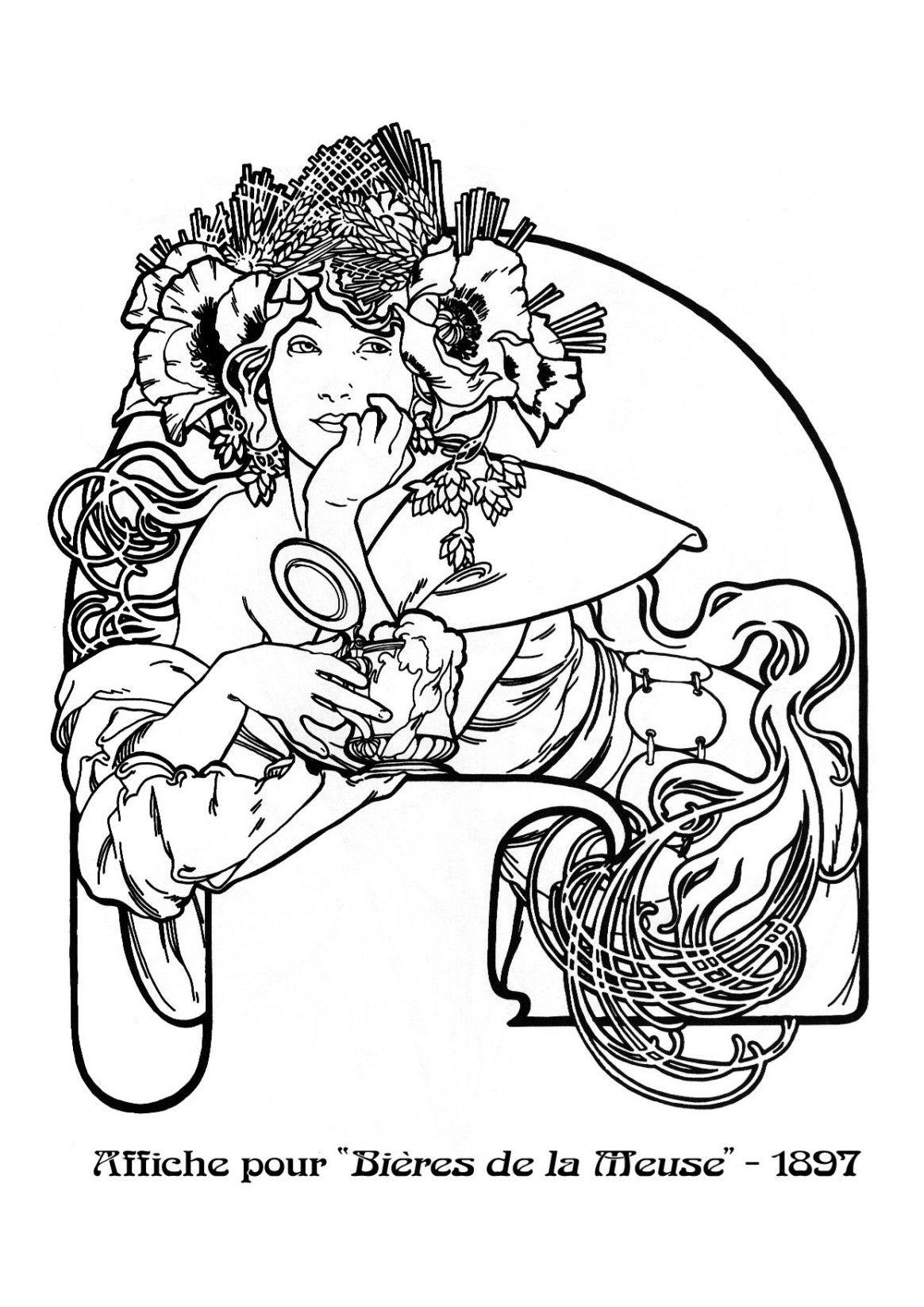 Kleurplaten Naar A Mucha Pin Via Dromenvangers Winkeltje Patroon Tekening Prent Sjabloon Bieres De La Meuse 18 Mucha Art Art Nouveau Illustration Mucha