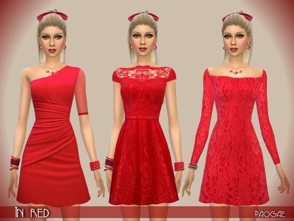 The Sims Resource: InRed dress by Paogae • Sims 4 Downloads | The
