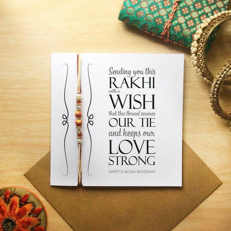 happy raksha bandhan card with beaded rakhi  card for my