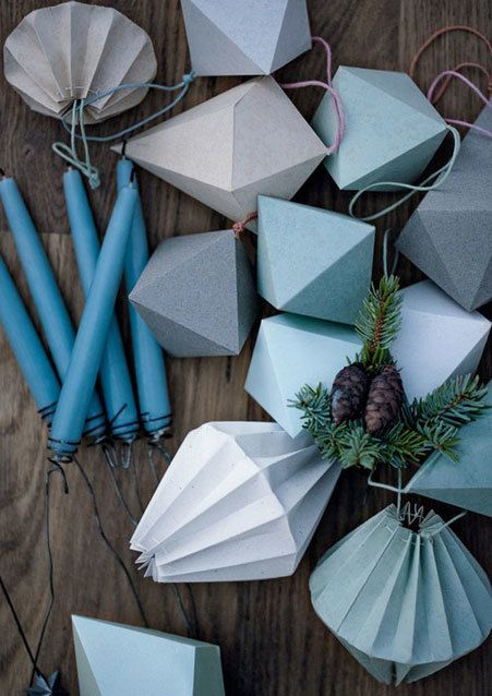 Make your own decorative paper Christmas ornaments for your
