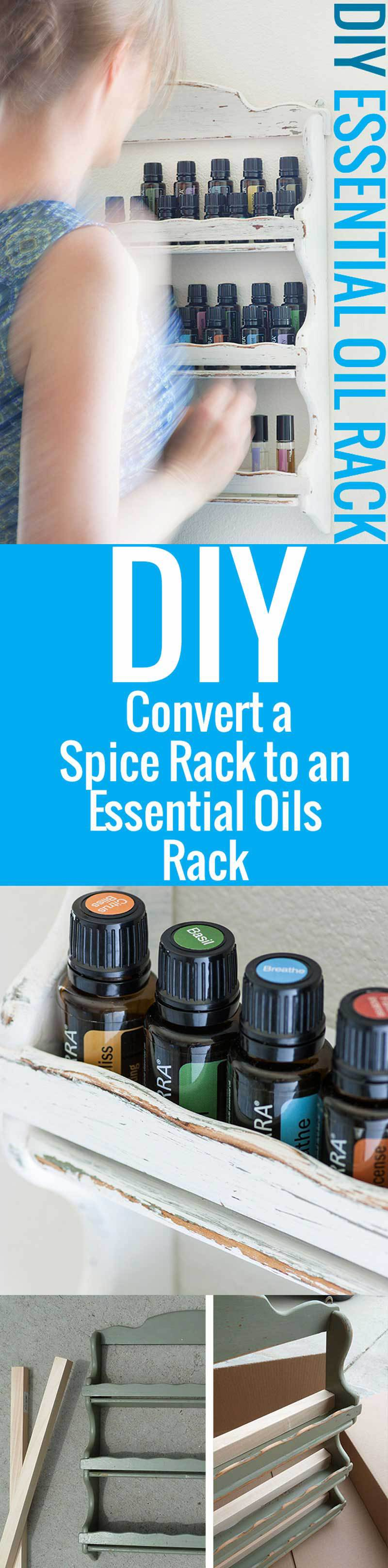 As my collection of essential oils grew, it becameclear that I needed a dedicated essential oils storage spot in the house—this DIY rack was perfect.