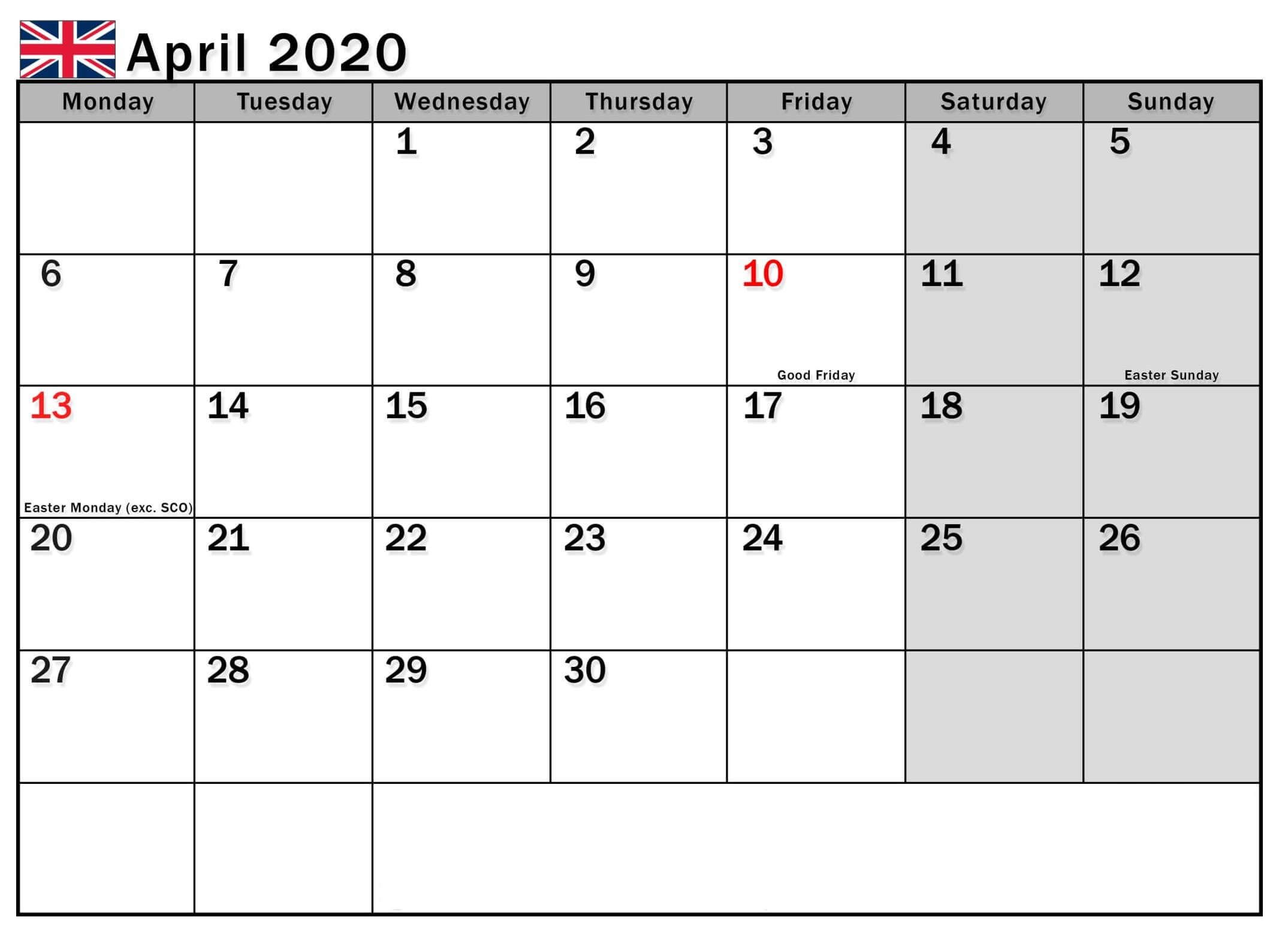 April 2020 Calendar With UK Holidays in 2020 | Holiday calendar, Calendar uk,  January calendar