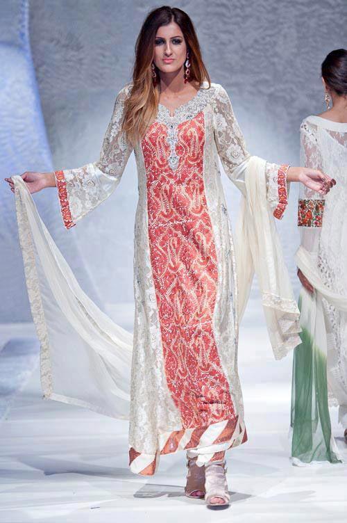 White/Flesh A-Line Ankle Length Crinkle Chiffon Party Dress by PakRobe.com