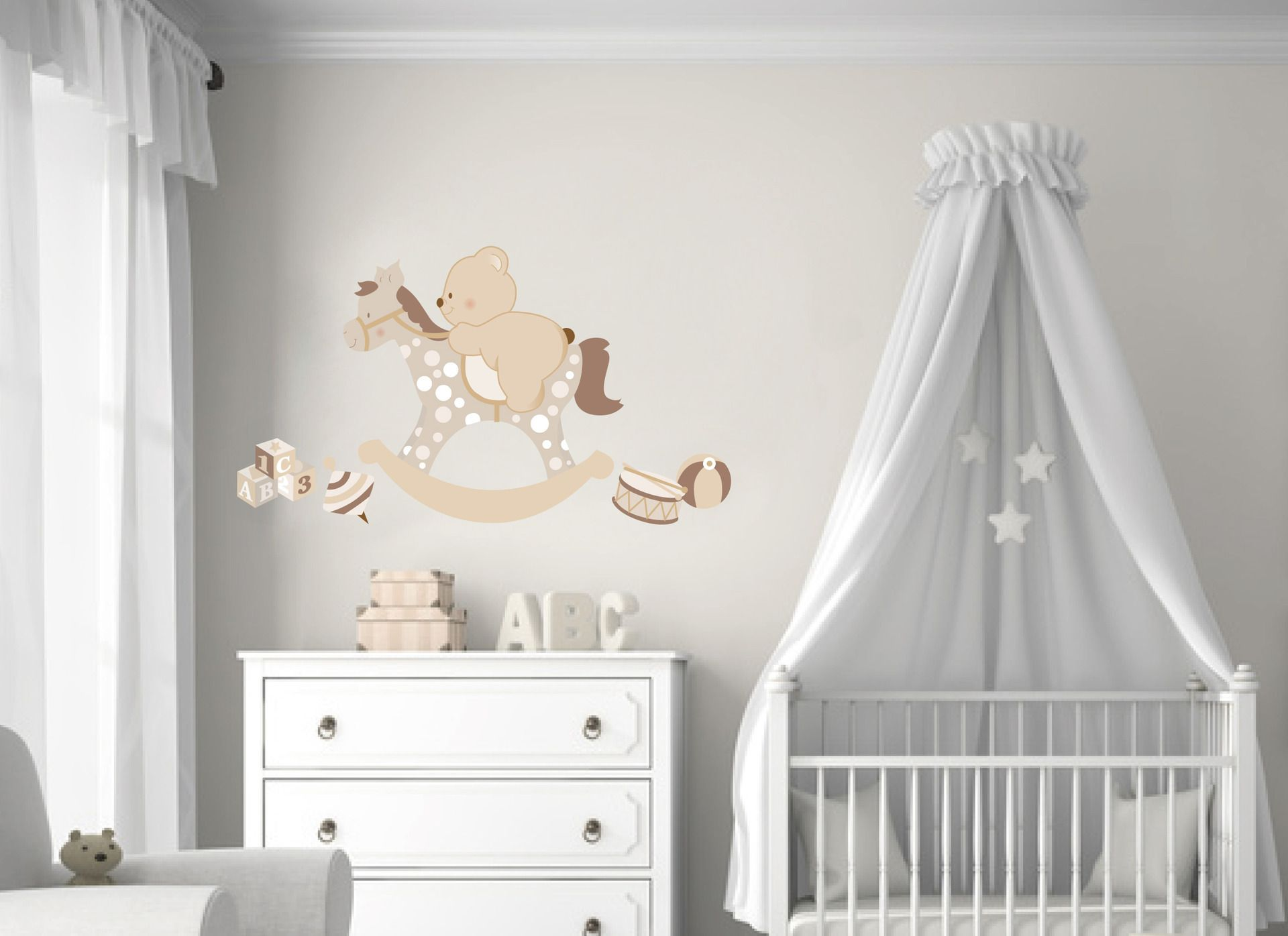 Decorazioni Per Camerette Ragazzi : Adesivi murali bambini decorazioni camerette cavallo a dondolo