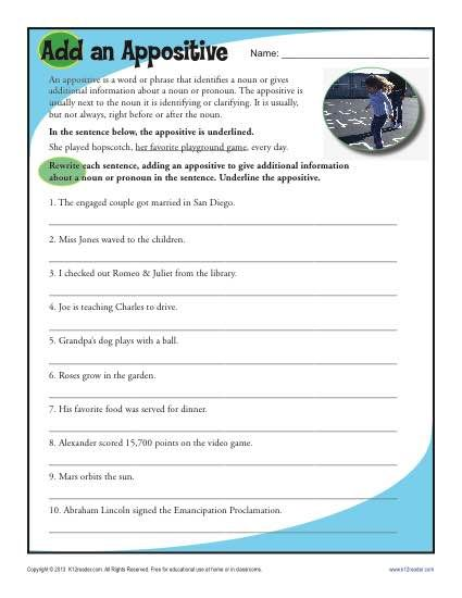 Add an Appositive | Activities, An and Free printable worksheets