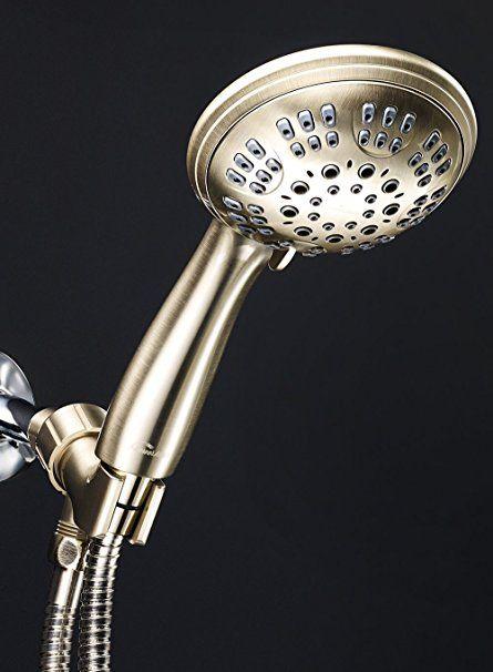 Showermaxx 6 Spray Settings Luxury Spa Grade Handheld Shower Head Includes Extra Long Nickel Finish Steel Hose Adjustable Mount Teflon T Handheld Shower Head