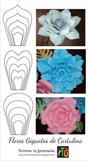 Flores Gigantes En Cartulina Tutorial De Flores De Papel