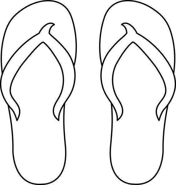 Colorable Flip Flops For Gr 5 One Shoe For Elem School The Other One For Middle School Free Clip Art Flip Flop Craft Flip Flops