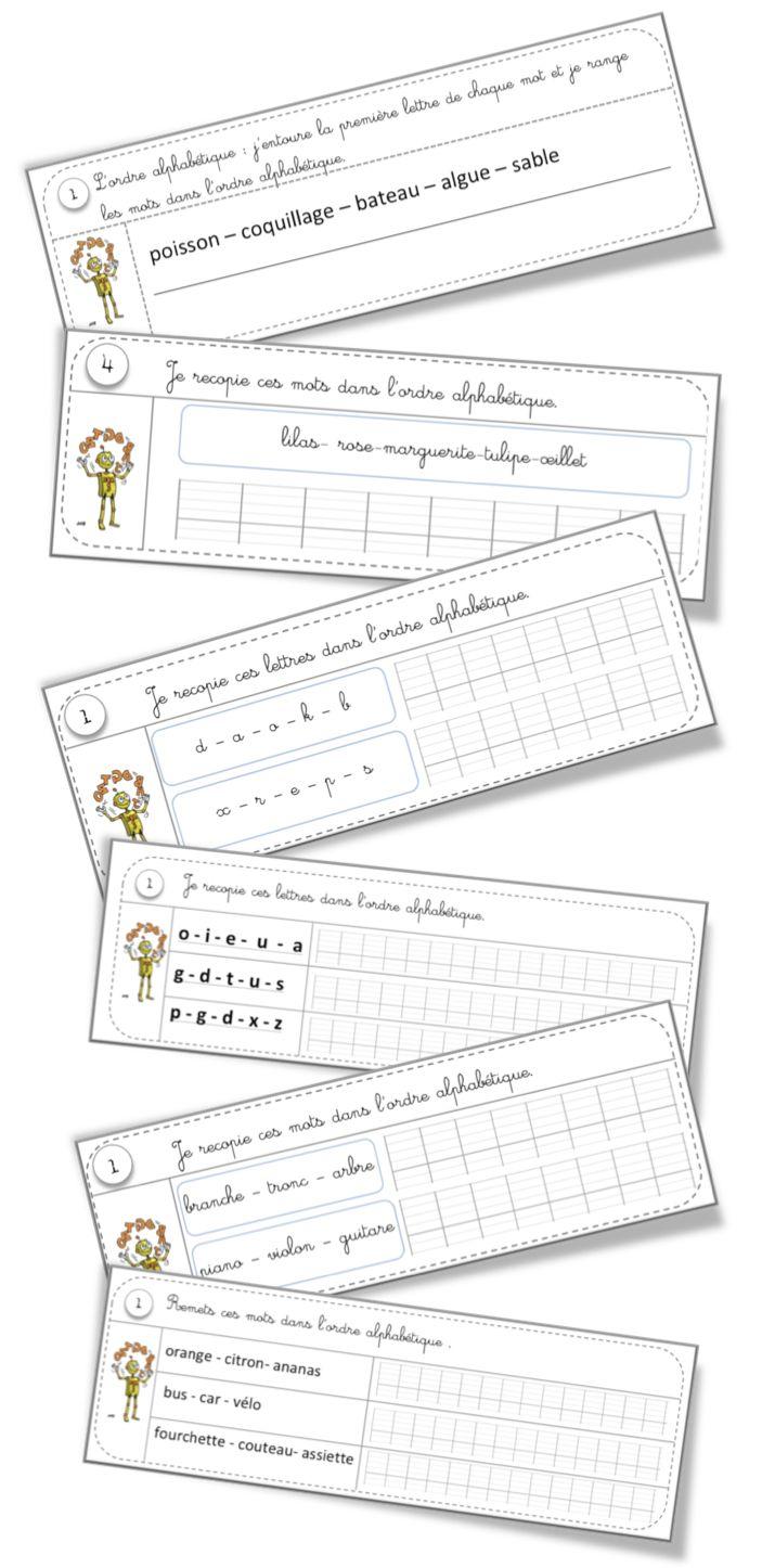 Rituels vocabulaire : l'ordre alphabétique et le
