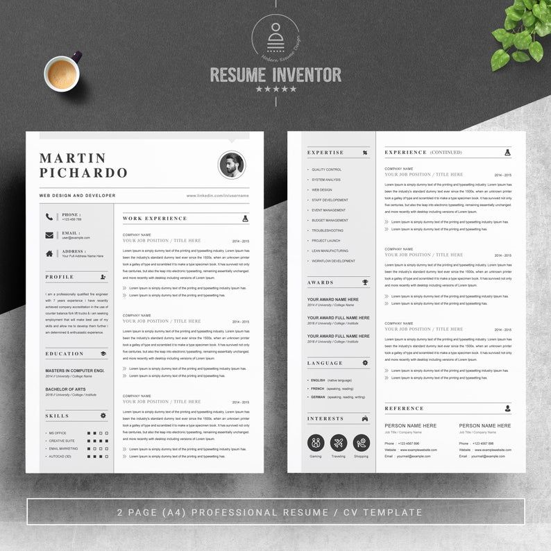 Resume Template Cv Design Template Ms Word Apple Pages Etsy In 2020 Clean Resume Template Cv Template Resume Template