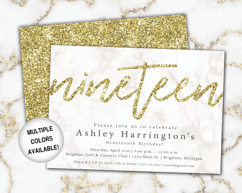 5th Birthday Invitation Gold Glitter Nineteenth Birthday  Etsy