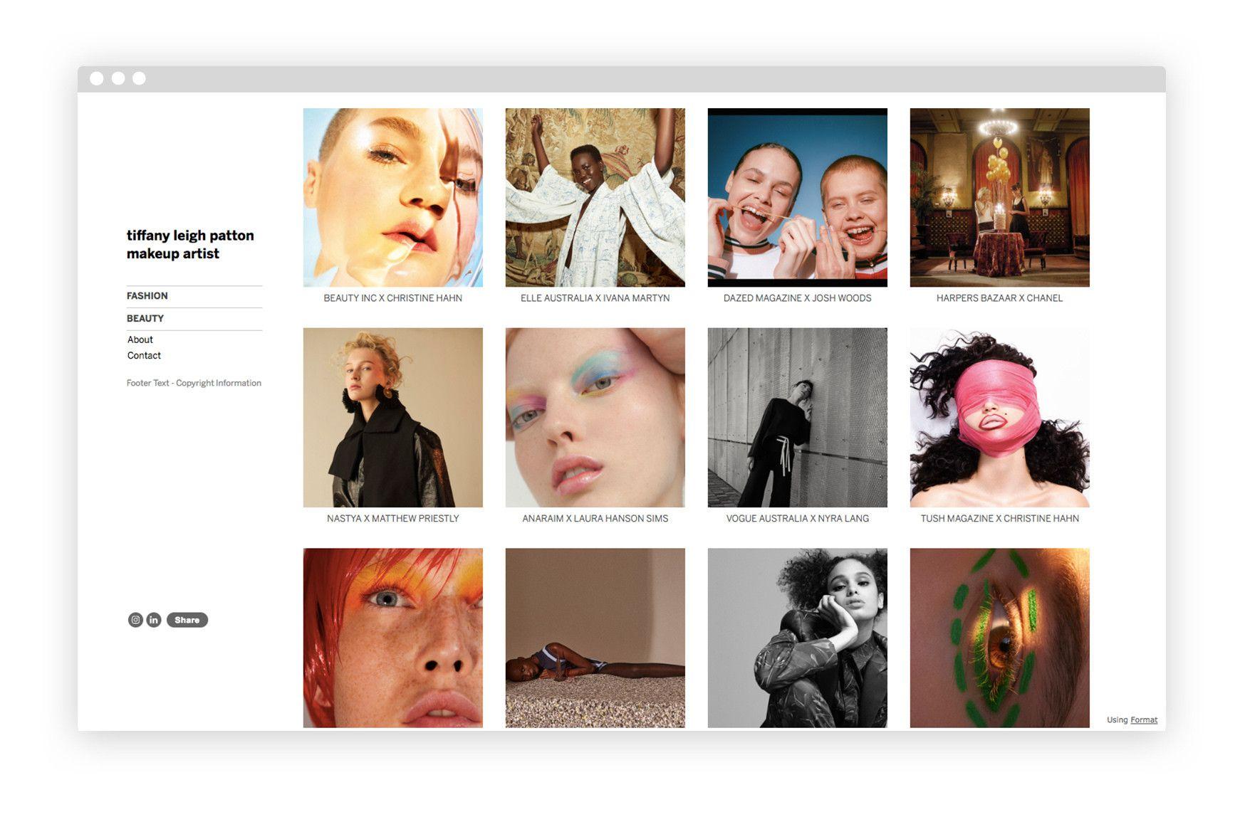 makeup artist website builder