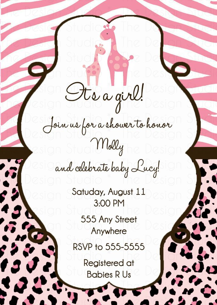 Custom personalized safari pink or blue baby shower invitation custom personalized safari pink or blue baby shower invitation invite diy print servicios especiales impresin y personalizacin invitaciones y anuncios filmwisefo