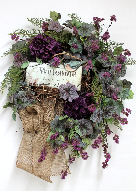 Country welcome wreath front door wreath spring wreath burlap country welcome wreath front door wreath spring wreath burlap wildflowers honeysuckle rubansaba