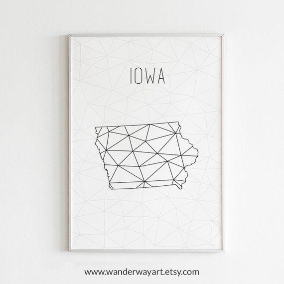 Iowa art, Iowa state art, Iowa wall art, Iowa print, Iowa